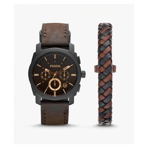 Fossil Men's Machine Chronograph Dark Brown Leather Watch and Bracelet Box Set