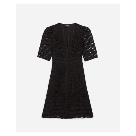 The Kooples - Short buttoned black lace dress - WOMEN