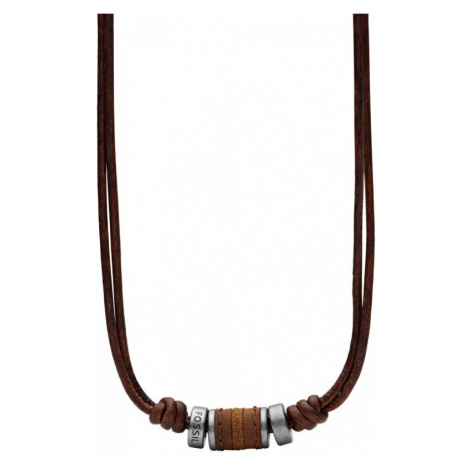 Mens Fossil Gunmetal PVD Leather Necklace