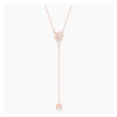 Precisely Y Necklace, White, Rose-gold tone plated Swarovski