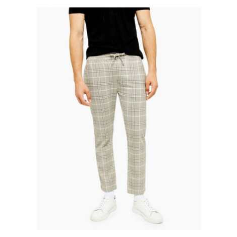 Mens Stone And Navy Check Trousers, Stone Topman