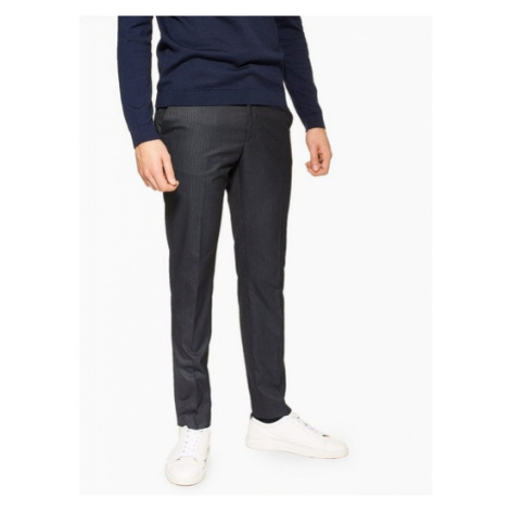 Mens Navy Pinstripe Skinny Fit Suit Trousers, Navy Topman