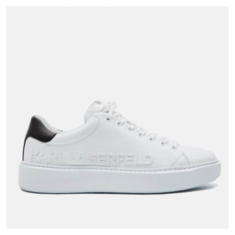 KARL LAGERFELD Men's Maxi Kup Leather Chunky Trainers - White - UK