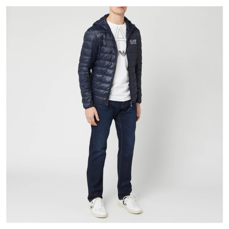 Emporio Armani EA7 Men's Down Hooded Jacket - Night Blue - Blue