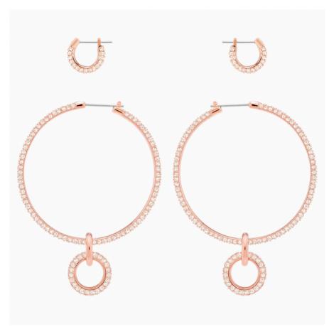 Stone Pierced Earring Set, Pink, Rose-gold tone plated Swarovski