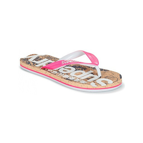 Superdry PRINTED CORK FLIP FLOP women's Flip flops / Sandals (Shoes) in Pink