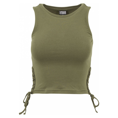 Urban Classics Ladies Lace Up Cropped Top Top olive