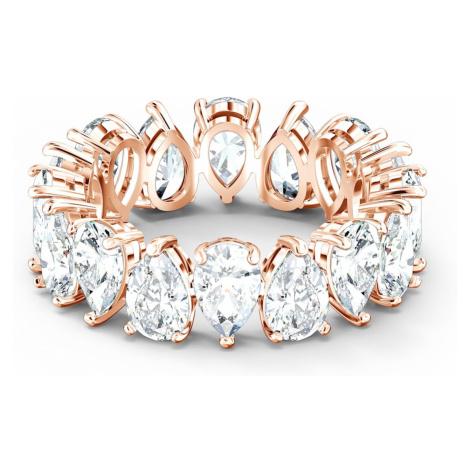 Vittore Pear Ring, White, Rose-gold tone plated Swarovski