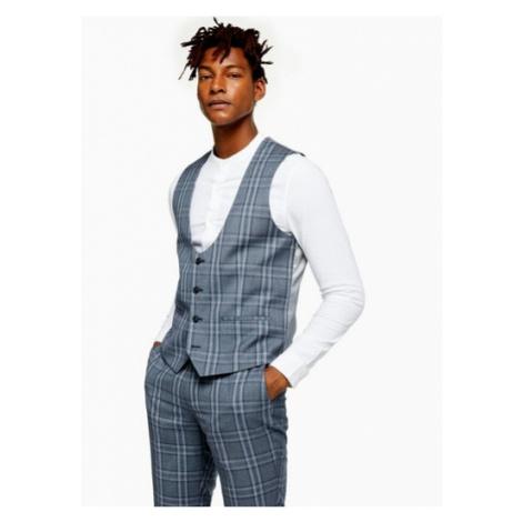 Mens Blue Check Slim Fit Suit Waistcoat, Blue Topman