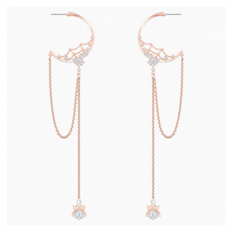 Precisely Hoop Pierced Earrings, White, Rose-gold tone plated Swarovski
