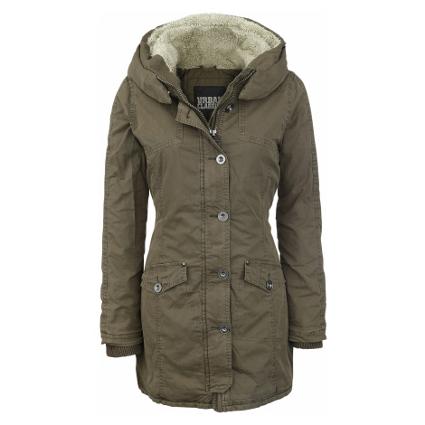 Urban Classics - Ladies Garment Washed Long Parka - Girls jacket - olive
