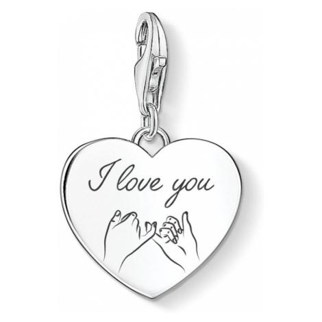 THOMAS SABO Charm Club Silver I Love You Loving Touch Heart Charm