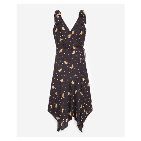 The Kooples - Black wrap dress with butterfly motif - WOMEN