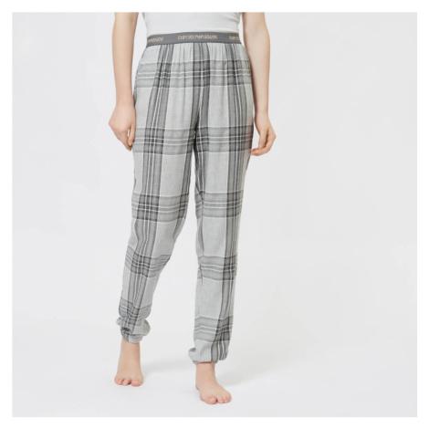 Emporio Armani Women's Tartan Flannel Pants with Cuffs - Grey - Grey