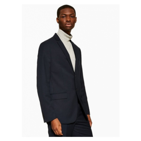 Mens Navy Slim Fit Textured Single Breasted Suit Blazer With Notch Lapels, Navy Topman