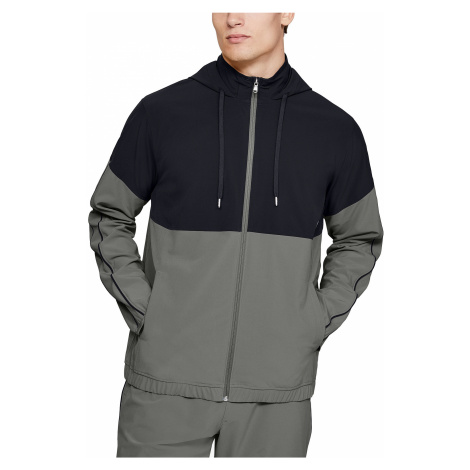 jacket Under Armour Athlete Recovery Woven Warm Up - 388/Gravity Green/Black - men´s