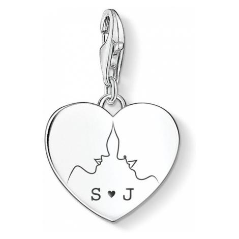 THOMAS SABO Charm Club Silver Face Silhouette Initials Heart Charm