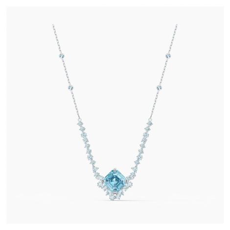 Sparkling Necklace, Aqua, Rhodium plated Swarovski