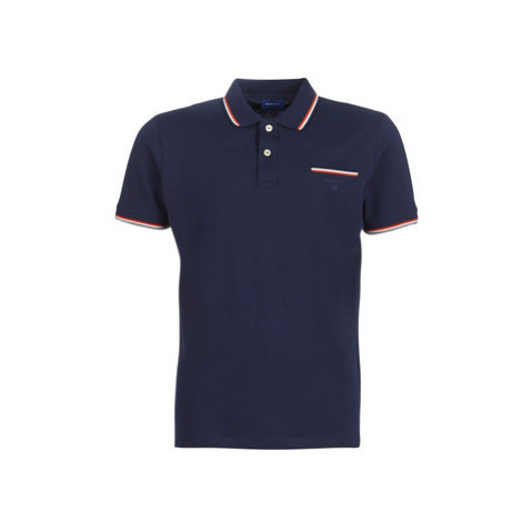Gant COL TIPPING PIQUE men's Polo shirt in Blue