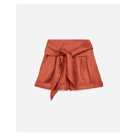 The Kooples - Pink jacquard satin shorts with waist tie - WOMEN