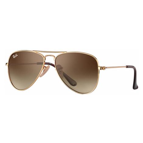 Ray-Ban Aviator junior Unisex Sunglasses Lenses: Brown, Frame: Gold - RJ9506S 223/13 50-13