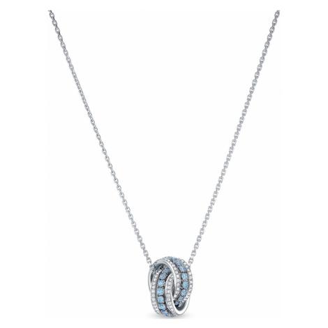 Further Pendant, Blue, Rhodium plated Swarovski