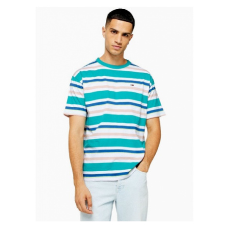 Mens Green Tommy Jeans Multicoloured Stripe T-Shirt, Green Tommy Hilfiger