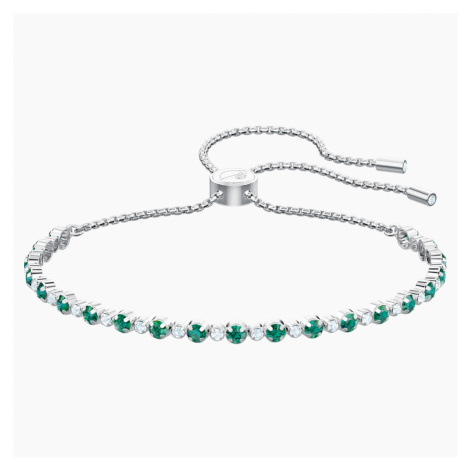 Subtle Bracelet, Green, Rhodium plated Swarovski