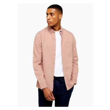 Mens Pink Twill Slim Shirt, Pink Topman