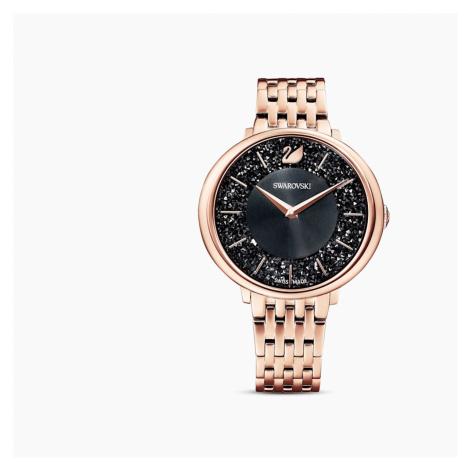 Crystalline Chic Watch, Metal bracelet, Black, Rose-gold tone PVD Swarovski