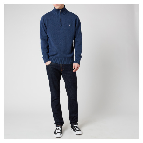Gant Men's Casual Cotton Half Zip Sweatshirt - Marine Melange