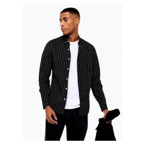 Mens Black And Ecru Pinstripe Slim Shirt, Black Topman
