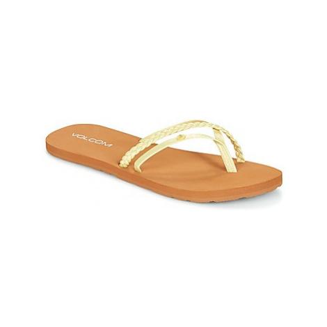 Volcom THRILLS women's Flip flops / Sandals (Shoes) in Yellow