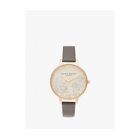 Olivia Burton OB16MV98 Women's Lace Detail Leather Strap Watch, Gold/Grey
