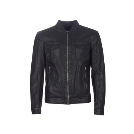 Benetton MIRIBOU men's Leather jacket in Black United Colors of Benetton