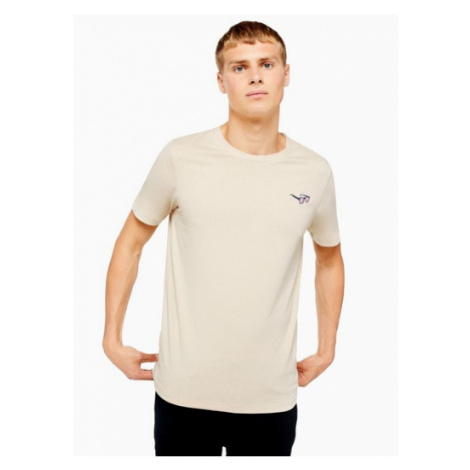 Mens Brown Selected Homme 'Sunny' Embroidered T-Shirt, Brown
