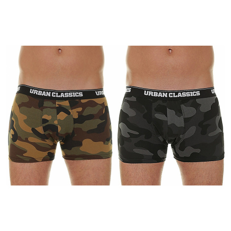shorts Urban Classics Camo Boxer Shorts/TB2047 2 Pack - Wood Camouflage/Dark Camouflage