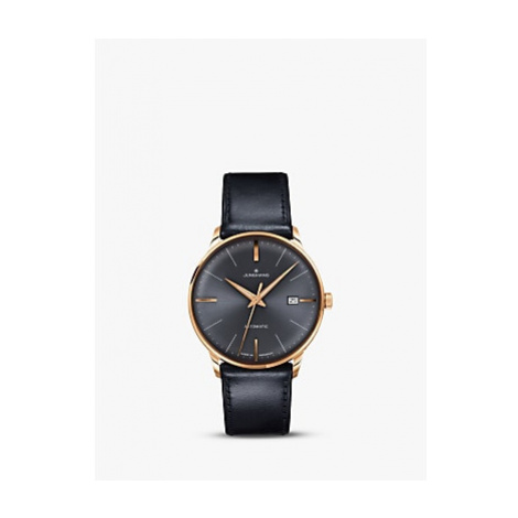 Junghans 027/7513.00 Men's Meister Automatic Date Leather Strap Watch, Black/Grey