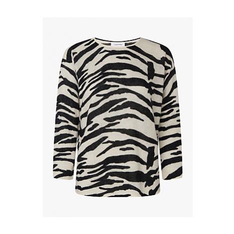 Calvin Klein Alpaca Blend Zebra Jumper, Zebra/Black/White