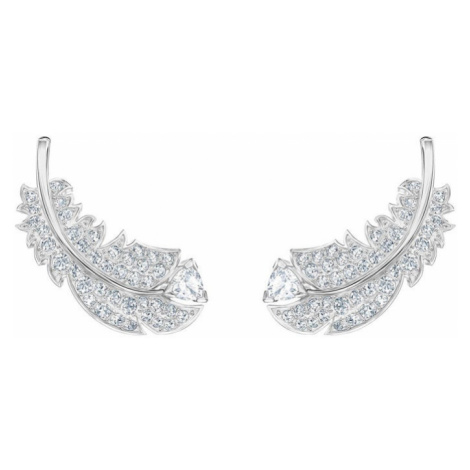 Swarovski Nice White Crystal Feather Earrings