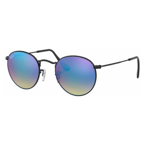 Ray-Ban Round flash lenses gradient Unisex Sunglasses Lenses: Blue, Frame: Black - RB3447 002/4O