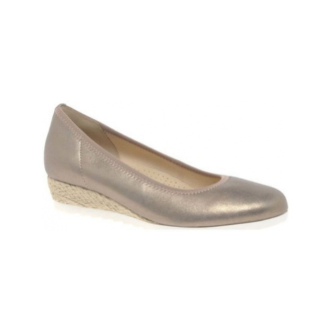 Gabor Epworth Womens Low Wedge Heeled Shoes women's in Gold