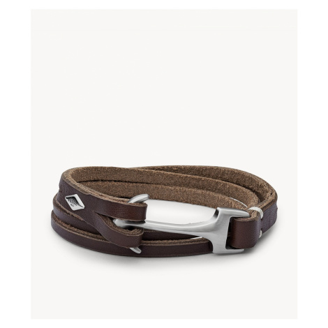 Fossil Men's Anchor Bracelet - Brown Silver