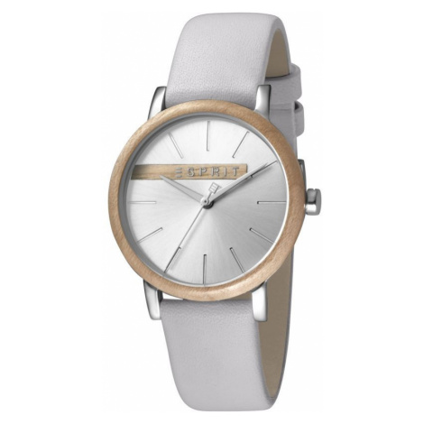 Esprit Forest Women's Watch featuring a Light Grey Leather Strap and Silver With Wood Platform D