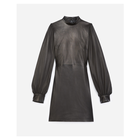 The Kooples - Black short leather dress with high neck - WOMEN