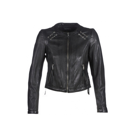 Black women's leather and faux leather jackets