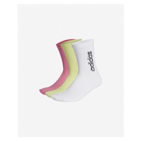 adidas Performance Half-Cushioned Vertical Crew Socks 3 pairs Pink Yellow White