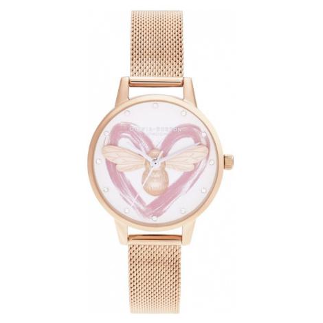 Ladies Olivia Burton Lucky Bee, Silver & Rose Gold Mesh Watch