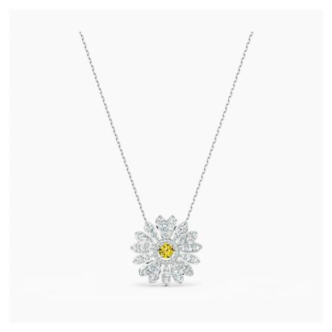 Eternal Flower Pendant, Yellow, Rhodium plated Swarovski