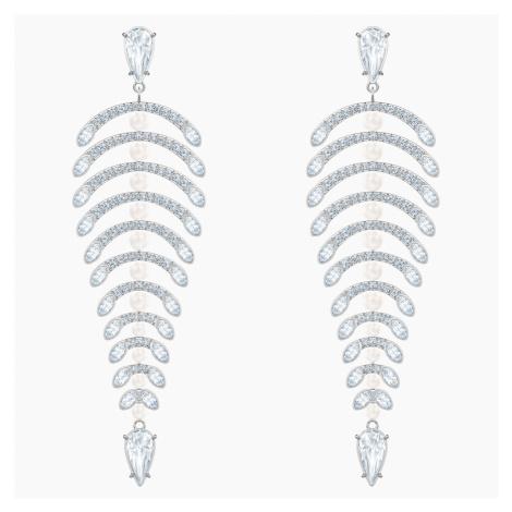 Polar Bestiary Chandelier Pierced Earrings, White, Rhodium plated Swarovski